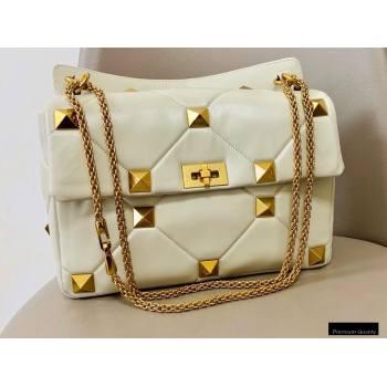 Valentino Large Roman Stud Nappa Chain Bag White 2021 (jindong-20122802)