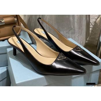 Prada Heel 6cm Leather Triangle Logo Slingbacks Black 2021 (modeng-20122811)
