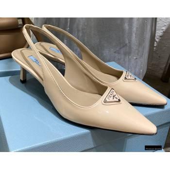 Prada Heel 6cm Leather Triangle Logo Slingbacks Patent Beige 2021 (modeng-20122810)