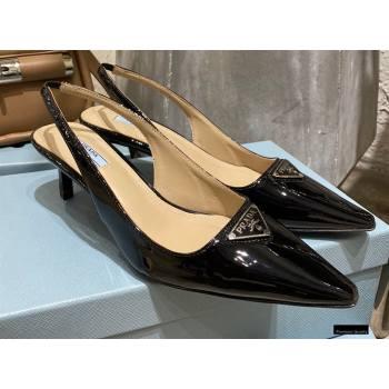 Prada Heel 6cm Leather Triangle Logo Slingbacks Patent Black 2021 (modeng-20122809)