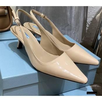Prada Heel 6cm Leather Slingbacks Patent Beige 2021 (modeng-20122812)