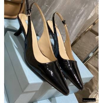 Prada Heel 6cm Leather Slingbacks Patent Black 2021 (modeng-2012212)