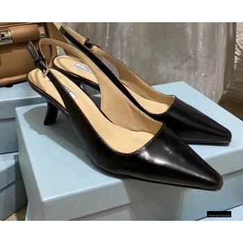 Prada Heel 6cm Leather Slingbacks Black 2021 (modeng-20122813)