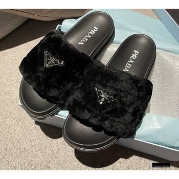 Prada Heel 3cm Wool Triangle Logo Slides Black 2021 (modeng-20122825)