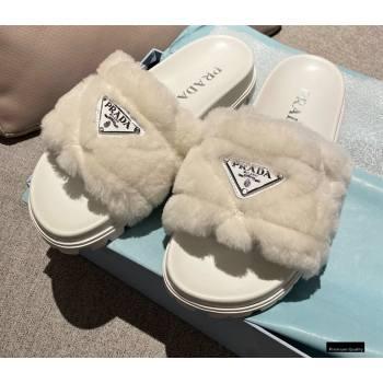 Prada Heel 3cm Wool Triangle Logo Slides White 2021 (modeng-20122826)