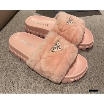 Prada Heel 3cm Wool Triangle Logo Slides Pink 2021 (modeng-20122827)