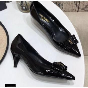 Saint Laurent Heel 5.5cm Anais Bow Pumps Patent Black (modeng-20122949)