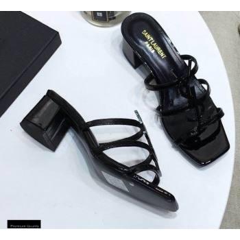 Saint Laurent Heel 5cm Cassandra Mules Patent Black with Monogram YSL Logo (modeng-20122955)
