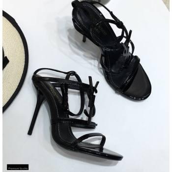 Saint Laurent Cassandra Sandals Patent Black with Monogram YSL Logo Heel 10.5cm (modeng-20122930)