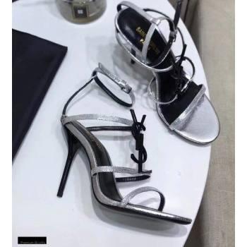Saint Laurent Cassandra Sandals Silver with Monogram YSL Logo Heel 10.5cm (modeng-20122934)