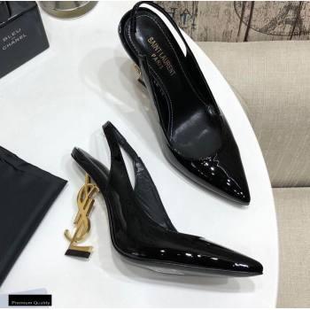 Saint Laurent Opyum Slingback Pumps Patent Black with Gold Interlocking YSL Logo Heel 11cm (modeng-20122925)