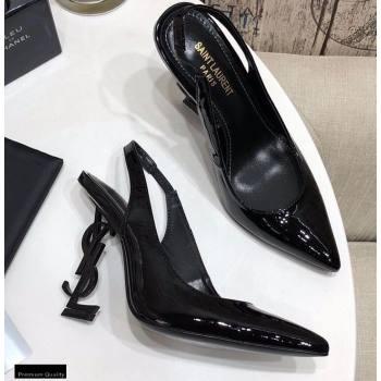 Saint Laurent Opyum Slingback Pumps Patent Black with Black Interlocking YSL Logo Heel 11cm (modeng-20122924)