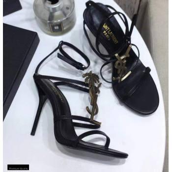 Saint Laurent Cassandra Sandals Black with Gold Palm Monogram YSL Logo Heel 10.5cm (modeng-20122935)