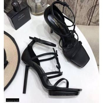 Saint Laurent Cassandra Platform Sandals Black with Black Monogram YSL Logo Heel 11cm (modeng-20122937)