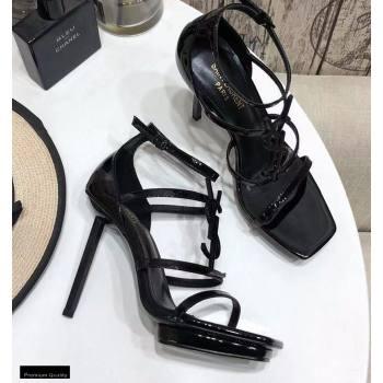 Saint Laurent Cassandra Platform Sandals Patent Black with Monogram YSL Logo Heel 11cm (modeng-20122936)
