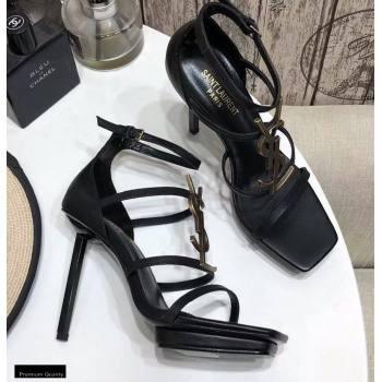 Saint Laurent Cassandra Platform Sandals Black with Gold Monogram YSL Logo Heel 11cm (modeng-20122938)