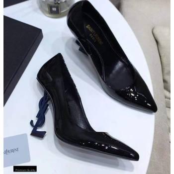 Saint Laurent Opyum Pumps Patent Black with Blue Interlocking YSL Logo Heel 11cm (modeng-20122919)
