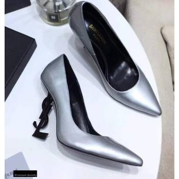 Saint Laurent Opyum Pumps Silver with Black Interlocking YSL Logo Heel 11cm (modeng-20122916)