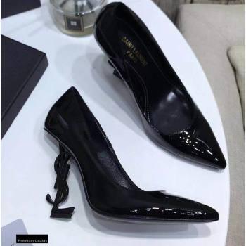 Saint Laurent Opyum Pumps Patent Black with Black Interlocking YSL Logo Heel 11cm (modeng-20122917)