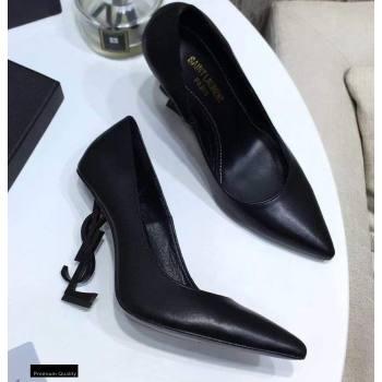 Saint Laurent Opyum Pumps Black with Black Interlocking YSL Logo Heel 11cm (modeng-20122913)