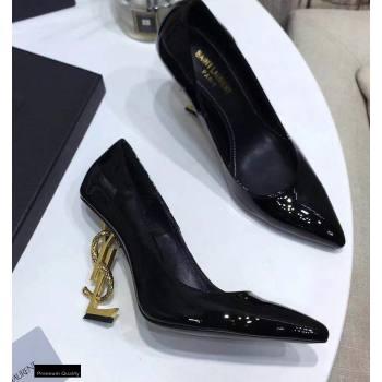 Saint Laurent Opyum Pumps Patent Black with Snake Gold Interlocking YSL Logo Heel 11cm (modeng-20122923)