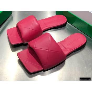 Bottega Veneta Square Sole Quilted The Rubber Lido Flat Slides Sandals Fuchsia 2021 (modeng-21010482)