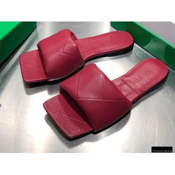Bottega Veneta Square Sole Quilted The Rubber Lido Flat Slides Sandals Dark Red 2021 (modeng-21010483)