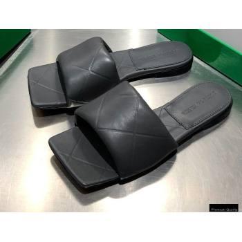 Bottega Veneta Square Sole Quilted The Rubber Lido Flat Slides Sandals Dark Gray 2021 (modeng-21010485)