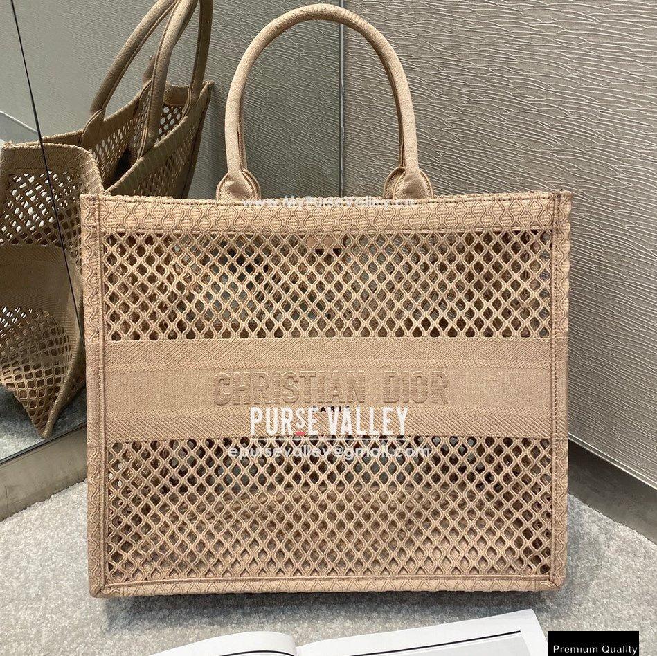 Dior Book Tote Bag in Nude Pink Mesh Embroidery 2021 (vivi