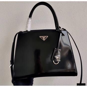 Prada Brushed Leather HandBag 1BA321 Black 2021 (ziyin-21011112)