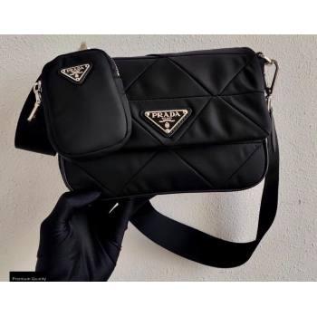 Prada System Padded Nylon Patchwork Shoulder Bag 1BD292 Black 2021 (ziyin-21011101)