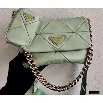 Prada System Nappa Leather Patchwork Shoulder Bag 1BD292 Light Green 2021 (ziyin-21010915)