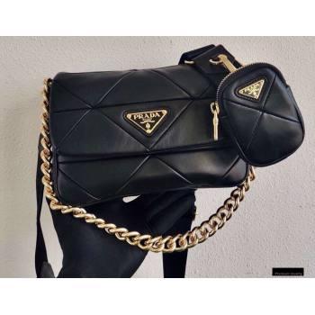Prada System Nappa Leather Patchwork Shoulder Bag 1BD292 Black 2021 (ziyin-21010914)