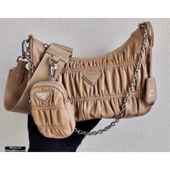 Prada Re-Edition 2005 Gaufré Embossed Leather Shoulder Hobo Bag 1BH204 Beige 2021 (ziyin-21011105)