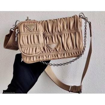 Prada Gaufré Embossed Leather Shoulder Bag 1BD289 Beige 2021 (ziyin-21011103)