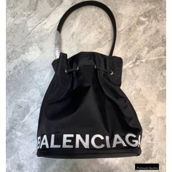 Balenciaga Wheel S Drawstring Bucket Bag Nylon Black (jiemei-21011320)