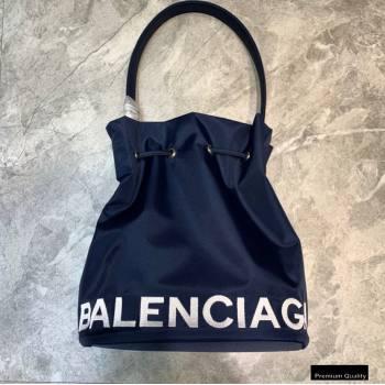 Balenciaga Wheel S Drawstring Bucket Bag Nylon Navy Blue (jiemei-21011323)