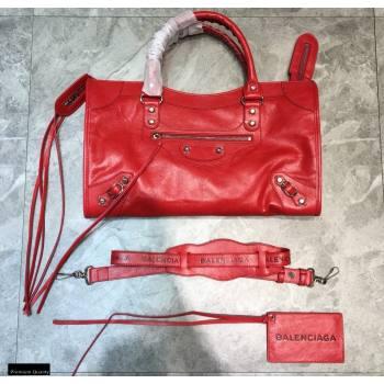 Balenciaga Classic City Medium Bag with Logo Strap Red (jiemei-21011301)