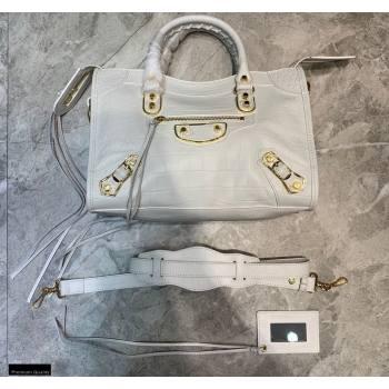 Balenciaga Classic City Small Bag Crocodile Embossed Calfskin White/Gold (jiemei-21011306)
