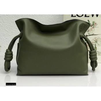 Loewe Medium Flamenco Clutch Bag in Nappa Calfskin Army Green (yongsheng-21011305)