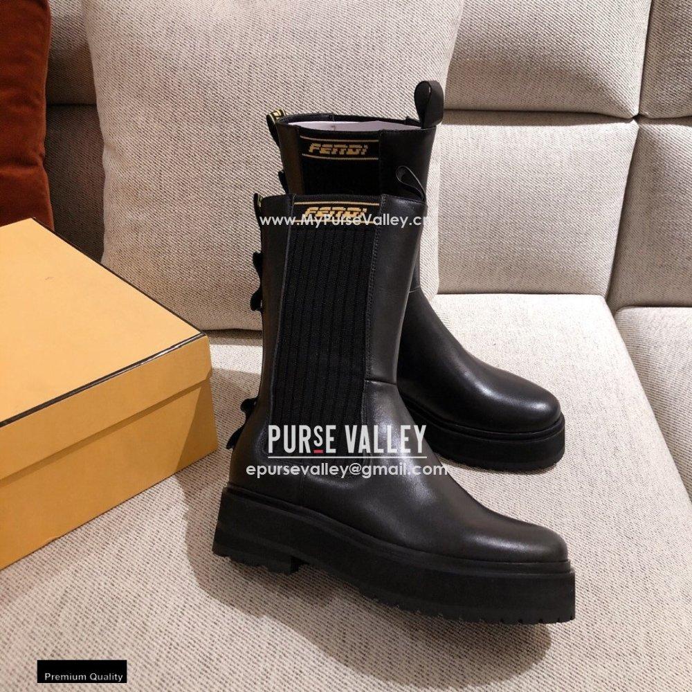 Fendi Black Leather Biker Ankle Boots 02 2021 (kaola-21011802)