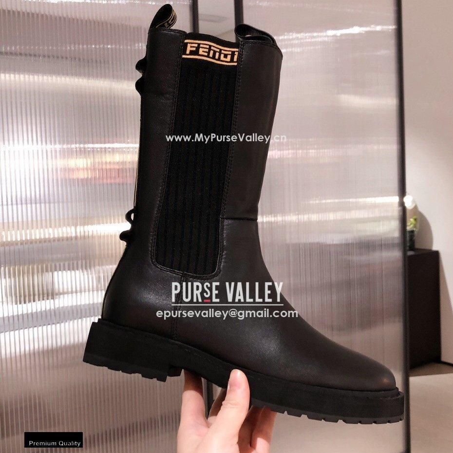 Fendi Black Leather Biker Ankle Boots 04 2021 (kaola-21011804)