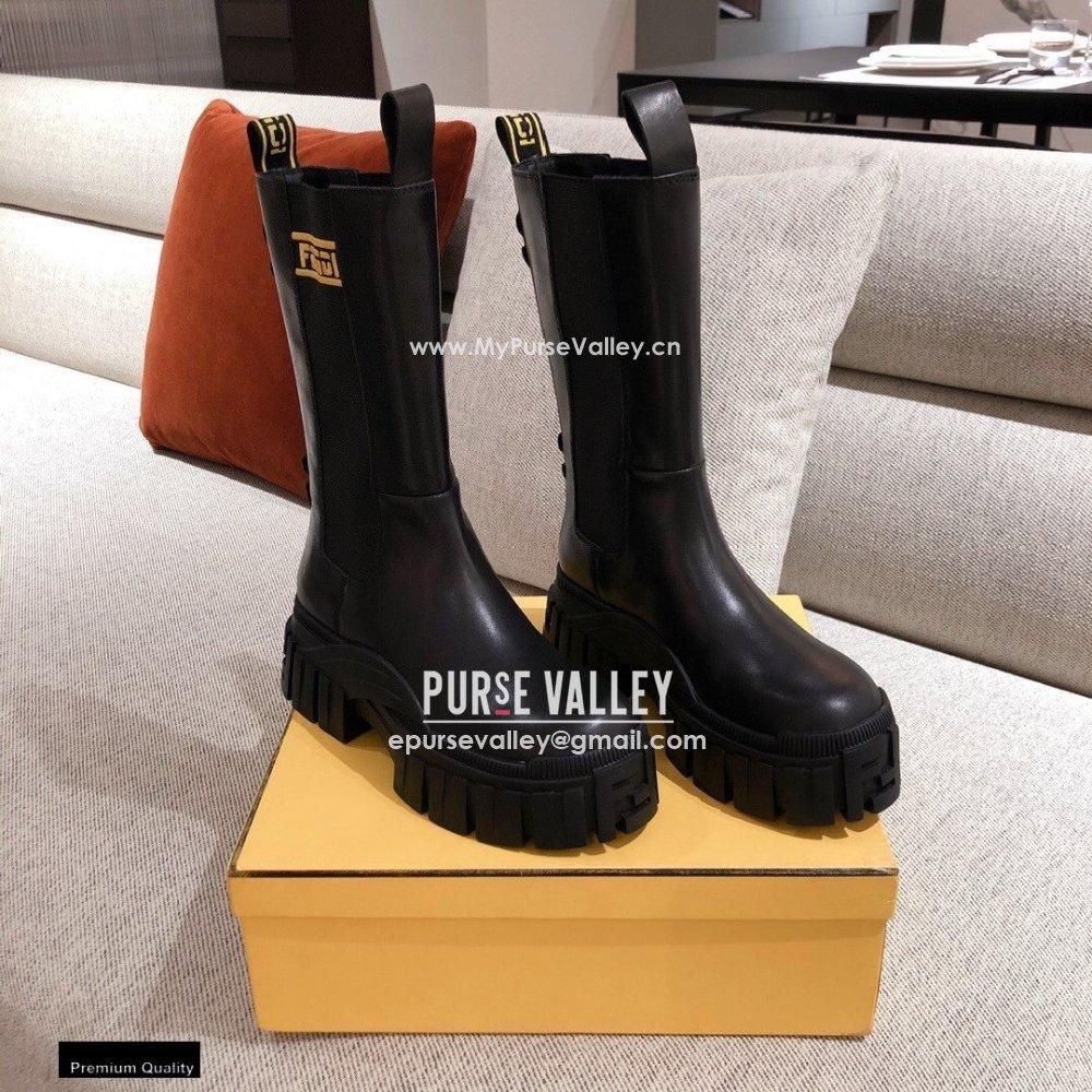 Fendi Black Leather Biker Ankle Boots 06 2021 (kaola-21011806)