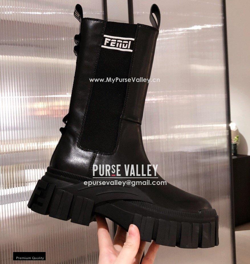 Fendi Black Leather Biker Ankle Boots 05 2021 (kaola-21011805)