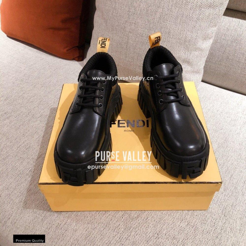 Fendi Black Leather Force Lace-ups 2021 (kaola-21011809)