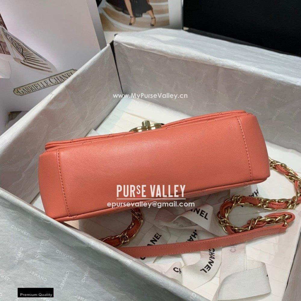 Chanel Lambskin Medium Flap Bag AS2318 Coral Pink 2021 (jiyuan/haoyun-21012223)