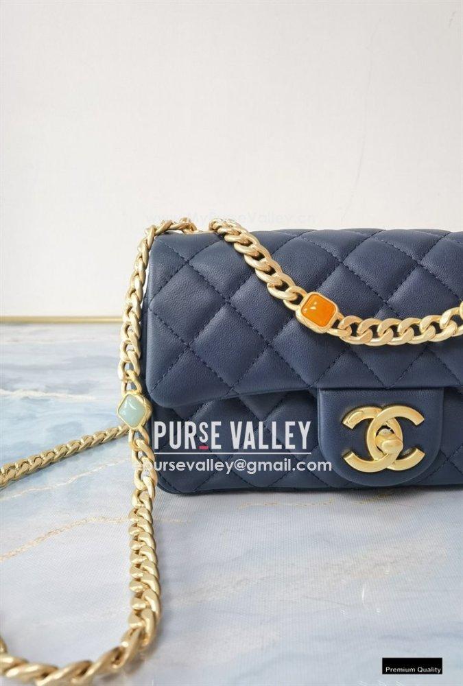 Chanel Resin Chain Lambskin Small Flap Bag AS2380 Navy Blue 2021 (jiyuan/haoyun-21012226)