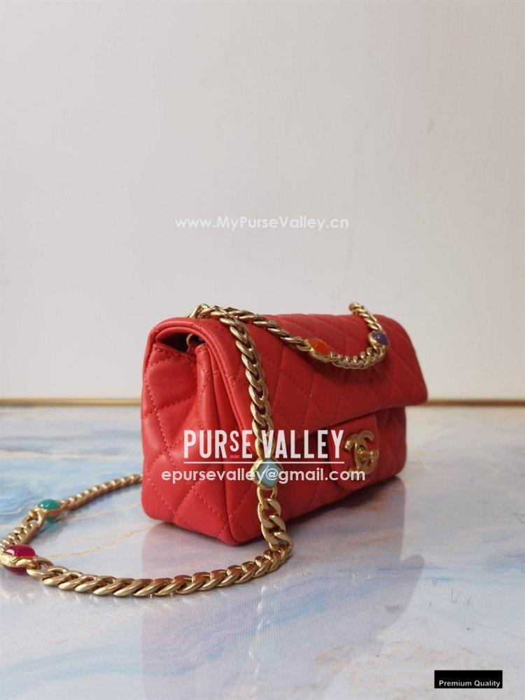 Chanel Resin Chain Lambskin Small Flap Bag AS2380 Red 2021 (jiyuan/haoyun-21012229)