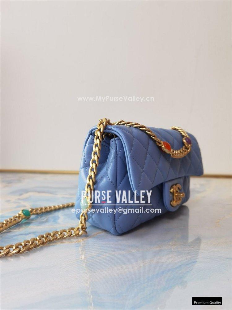 Chanel Resin Chain Lambskin Small Flap Bag AS2380 Denim Blue 2021 (jiyuan/haoyun-21012227)
