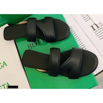 Bottega Veneta THE BAND Calf Leather Flat Sandals Black 2021 (modeng-21012511)